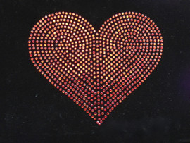 "Heart 5"" inch (Red) Rhinestone Transfer Iron On"