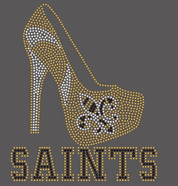 Saints Text with FDL Heel - Custom Rhinestone Transfer