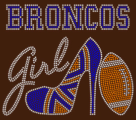 Broncos Girl heel football Rhinestone Transfer