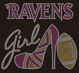 Ravens Girl heel football Rhinestone Transfer