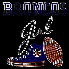 Broncos Girl Tennis shoe sneaker football Rhinestone Transfer