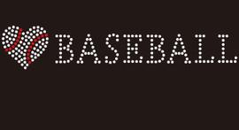 (9x1.7) Heart shape Baseball with word BASEBALL McCabe Rhinestone Transfer
