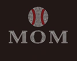 Baseball  Mom (2 lines) McCabe Rhinestone Transfer
