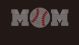 (8.5x3) Baseball  Mom (ball in middle) McCabe Rhinestone Transfer