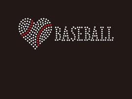 xx(Small 4.75x1.6) Heart shape Baseball with word BASEBALL McCabe Rhinestone Transfer xx