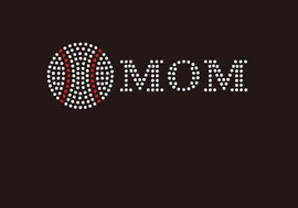 (Small 4.75x1.6) Baseball  Mom McCabe Rhinestone Transfer
