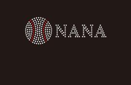 (Small 4.75x1.6) Baseball Nana (2mm stones) McCabe Rhinestone Transfer