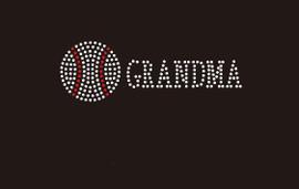(Small 4.75x1.6) Baseball  Grandma McCabe Rhinestone Transfer