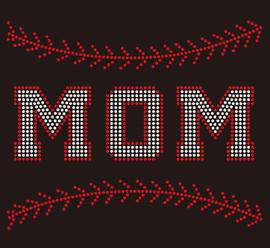 (9.5x7.8) Baseball  Mom Stitches (Stitches on top and bottom) custom Rhinestone Transfer