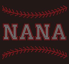 (9.5x7.8) Baseball Nana (Stitches on top and bottom) custom Rhinestone Transfer