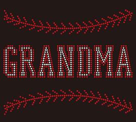 (9.5x7.8) Baseball Grandma (Stitches on top and bottom) custom Rhinestone Transfer