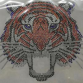 Tiger Face Front 5 color(orange, cobalt eyes)  Rhinestone Transfer