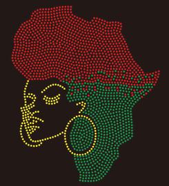 Africa Map GIRL custom Rhinestone Transfer
