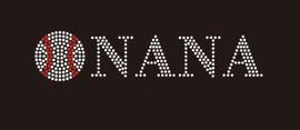 (9x2) Baseball Nana (roman font) - McCabe Rhinestone Transfer