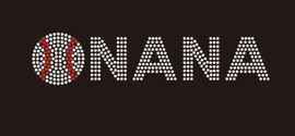 (9x2) Baseball Nana (arial font) - McCabe Rhinestone Transfer