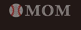 "(9""x1.5"") Baseball Mom (roman font) - McCabe Rhinestone Transfer"