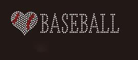 (9x2) Heart shape Baseball with word Baseball (roman font) - McCabe Rhinestone Transfer