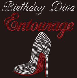 (New) Birthday Diva Entourage Heel Stiletto Rhinestone Transfer