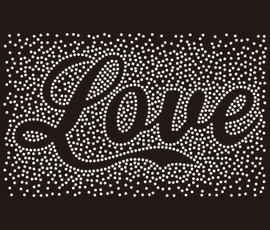 Love in cursive (text) spray Rhinestone Transfer