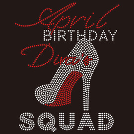 April Birthday Diva Squad heel- Custom Rhinestone Transfer