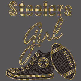 Steelers girl Tennis shoe sneaker football Rhinestone Transfer