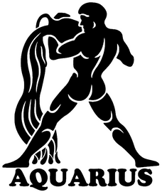 AQUARIUS Zodiac horoscope Vinyl Transfer (Black)