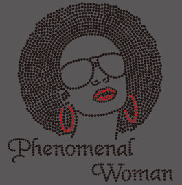 (Black hair) Phenomenal Woman big hair girl with goggle Rhinestone Transfer