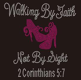 Walking by Faith Not By Sight (Fuchsia) Heels Stiletto Religious Rhinestone Transfer