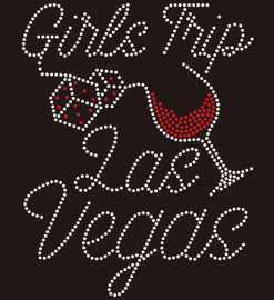 (New) Girls Trip Las Vegas (red) tilted wine glass with dice Rhinestone Transfer