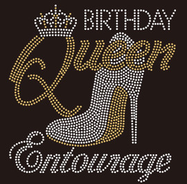 Birthday Queen Entourage Heel Stiletto Rhinestone Transfer