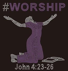 #WORSHIP Lady with bible custom Rhinestone Transfer