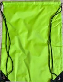 """Drawstring Nylon Tote Bag 16""""W x 15""""H x 2.5""""D (Neon Green)"""