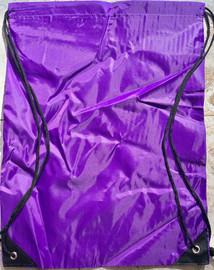 "Drawstring Nylon Tote Bag 16""W x 15""H x 2.5""D (Purple)"