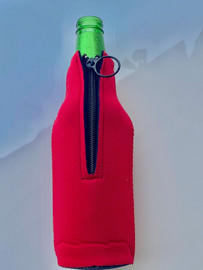 Zipper Beer Bottle Koozie (Red)