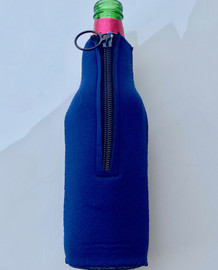 Zipper Beer Bottle Koozie (Navy Blue)
