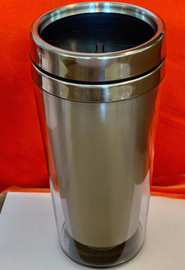 Tumbler 16 OZ, Double wall Travel Mug (Inner Stainless Steel, outer transparent shell)