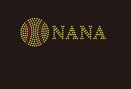 (Small 4.75x1.6) Softball  Nana (2mm stones) McCabe Rhinestone Transfer
