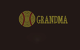 (Small 4.75x1.6) Softball  Grandma McCabe Rhinestone Transfer
