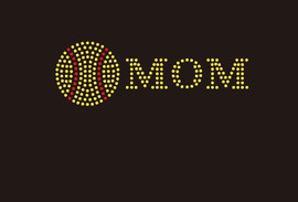 (Small 4.75x1.6) Softball  Mom McCabe Rhinestone Transfer