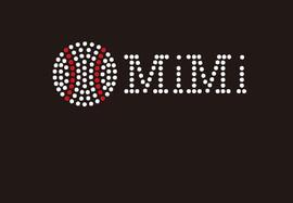 (Small 4.75x1.6) Baseball Mimi McCabe Rhinestone Transfer