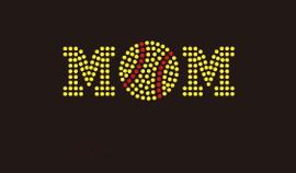(Small 4.5x1.6) Softball Mom (Ball in middle) McCabe Rhinestone Transfer