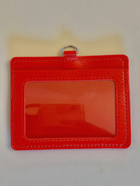 ID Card Name Tag Badge Holder PU leather (horizontal) (Red)