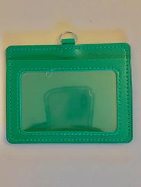 ID Card Name Tag Badge Holder PU leather (horizontal) (Green)