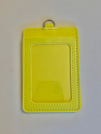 ID Card Name Tag Badge Holder PU leather (Vertical) (Yellow)