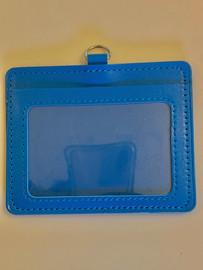 ID Card Name Tag Badge Holder PU leather (Horizontal) (Blue)