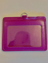 ID Card Name Tag Badge Holder PU leather (Horizontal) (Purple)