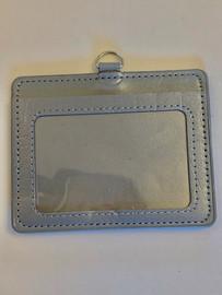 ID Card, Name Tag, Badge Holder, PU leather (Horizontal) (Grey)