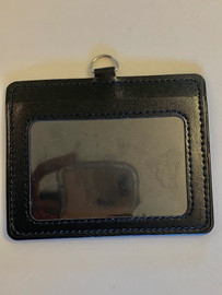 ID Card Name Tag Badge Holder PU leather (Horizontal) (Black)