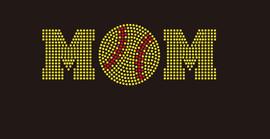 (8.5x3) Softball  Mom (ball in middle) McCabe Rhinestone Transfer