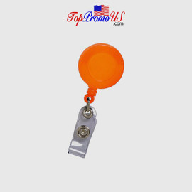 Retractable ID Badge Reel Holder (Orange)